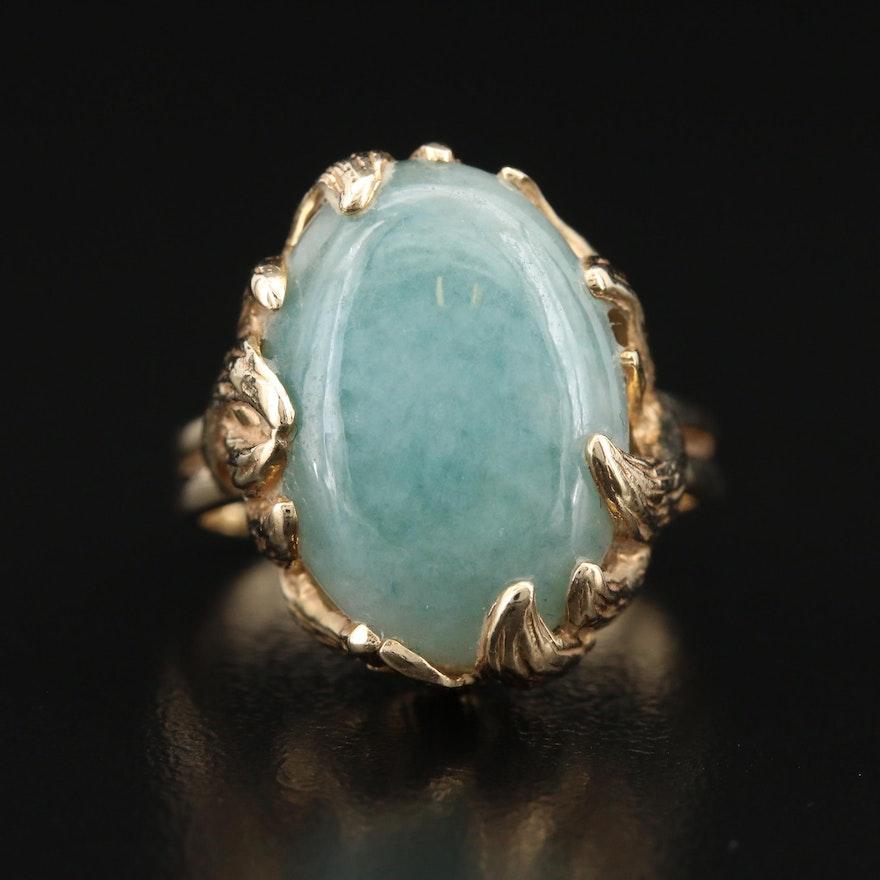 Vintage Scalle 14K Jadeite Organic Design Ring