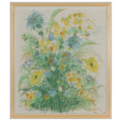 Dietrich Grunewald for Van Amstel Floral Serigraph, circa 1965