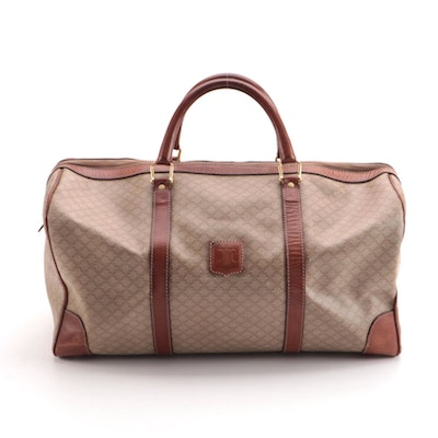 Celine Weekender Duffel Bag in Beige Macadam Coated Canvas and Tan Leather