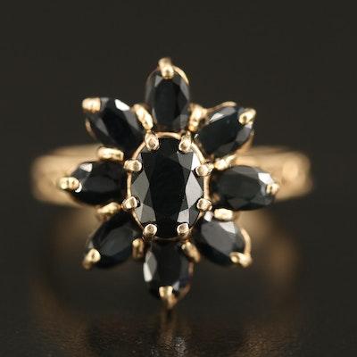 14K Sapphire Flower Ring