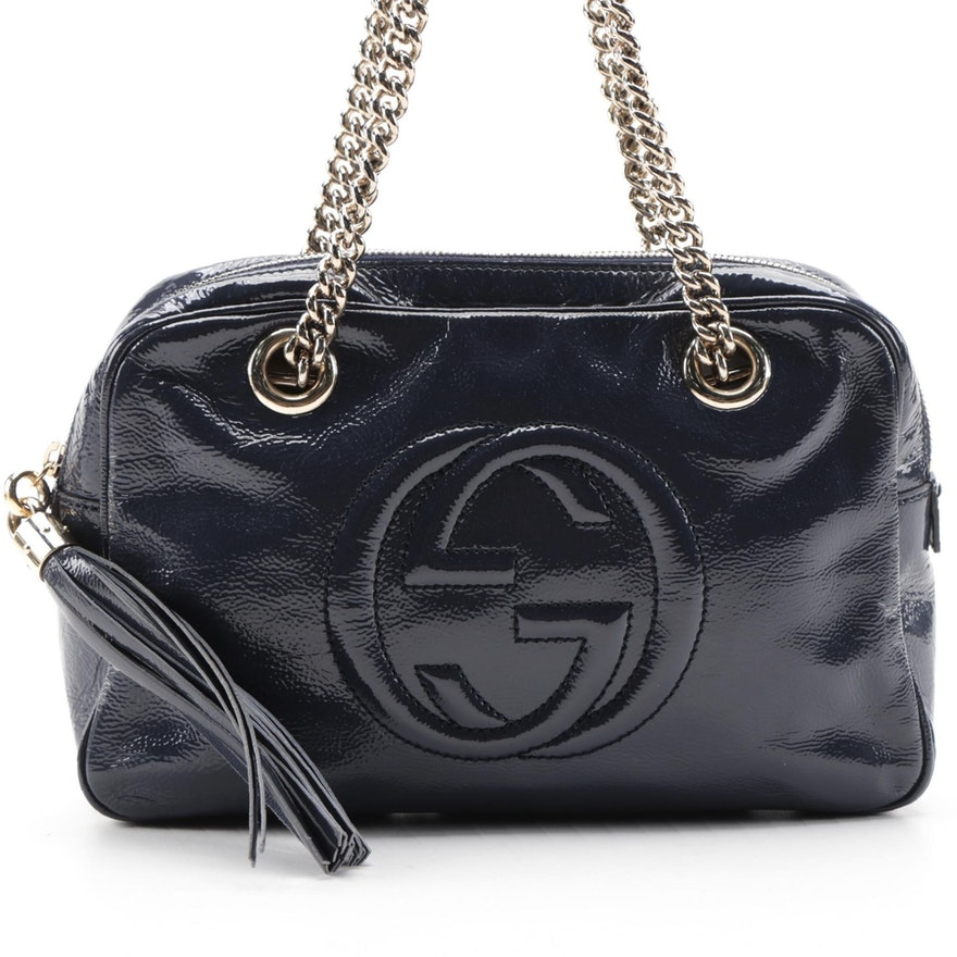 Gucci Soho Chain Shoulder Bag in Navy Crinkled Patent Leather with Chain Strap