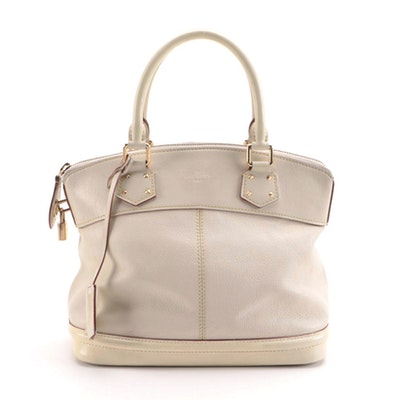 Louis Vuitton Suhali Lockit PM Satchel in Ivory Smooth and Grained Leather