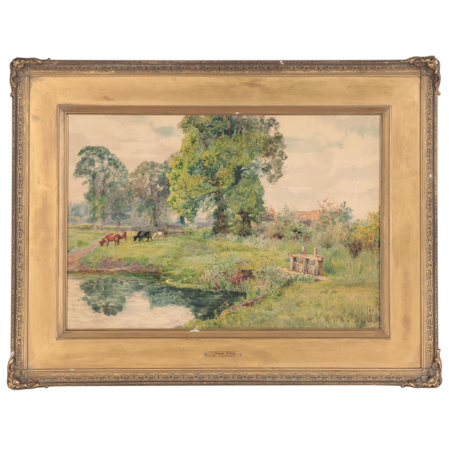 "Lillian Yeend King Landscape Watercolor Painting ""Green Pastures"""