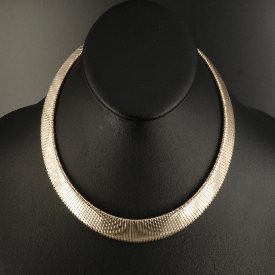 Sterling Graduated Omega Necklace