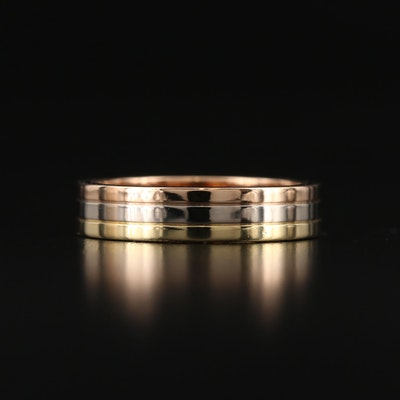 "Cartier ""Trinity"" Tri-Colored 18K Gold Band"