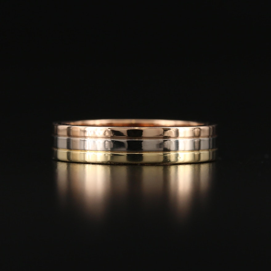 """Cartier """"Trinity"""" Tri-Colored 18K Gold Band"""