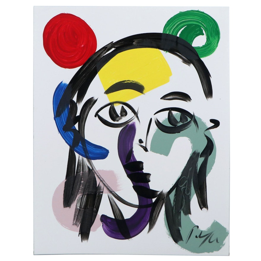 Peter Keil Abstract Portrait Acrylic on Paper