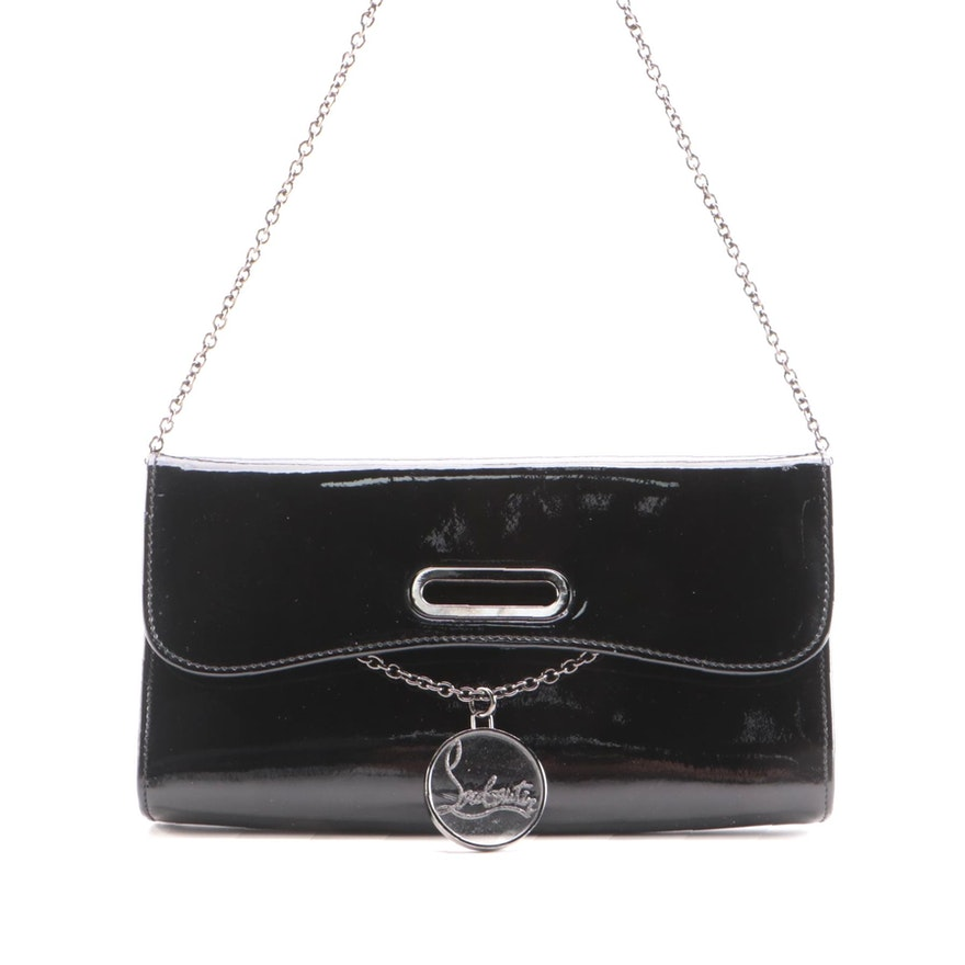 Christian Louboutin Riviera Handbag in Black Patent Leather with Bag Charm