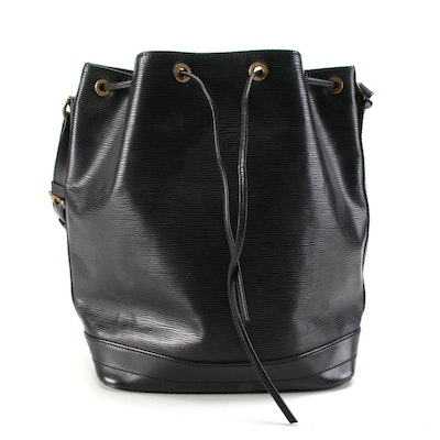 Louis Vuitton Noé Bucket Bag in Black Epi Leather with Smooth Leather Trim