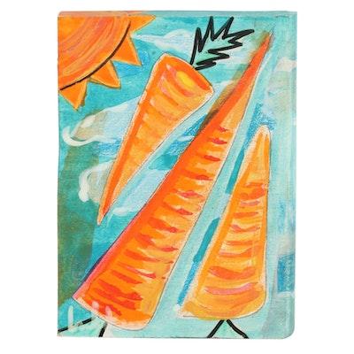 "Eric Lubkeman Folk Art Mixed Media Painting ""Flying Summer Carrots"""