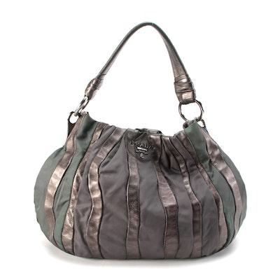 Prada Mordore Hobo Bag in Tessuto and Pewter Nappa Stripes
