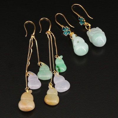 Sterling Carved Earrings Including Enamel Accents