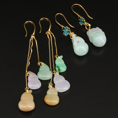 Sterling Jadeite Earrings Including Enamel Accents