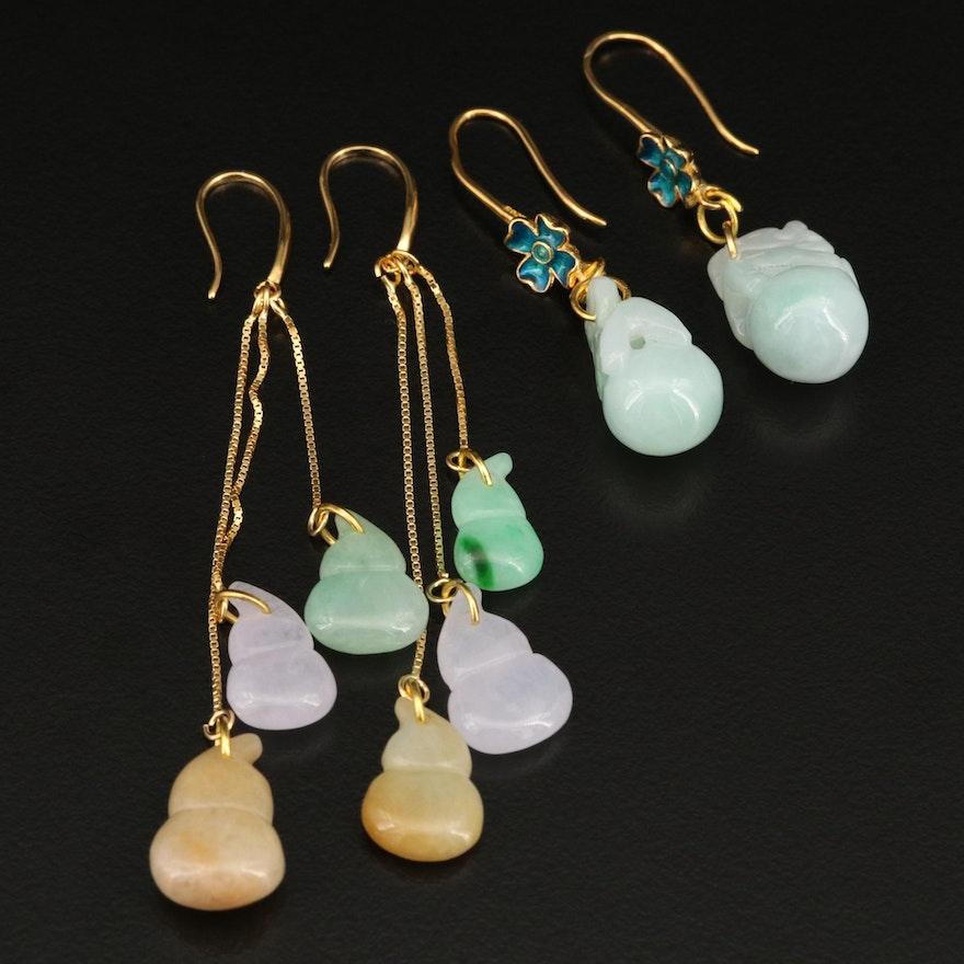 Sterling Jadeite Earrings Including Enamel Accents
