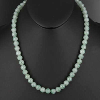 Jadeite Bead Necklace with 14K Clasp