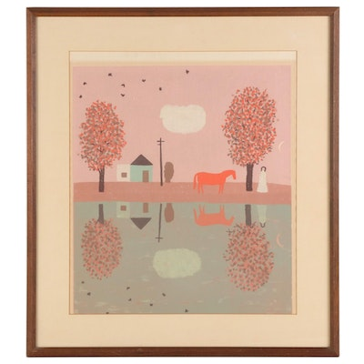 "Serigraph after Doris Lee ""Autumn Reflection"""