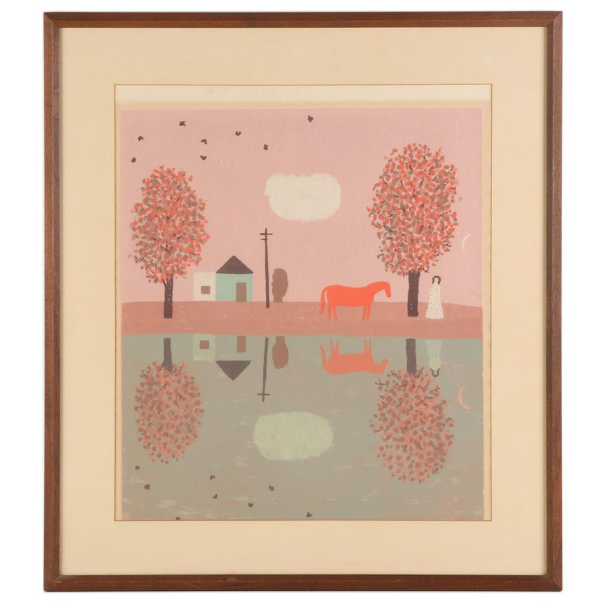 "Serigraph after Doris Lee ""Autumn Reflection"""