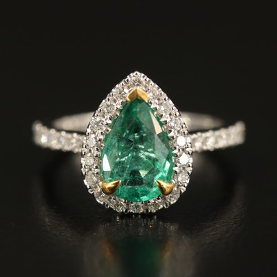 14K 1.37 CT Emerald and Diamond Halo Ring