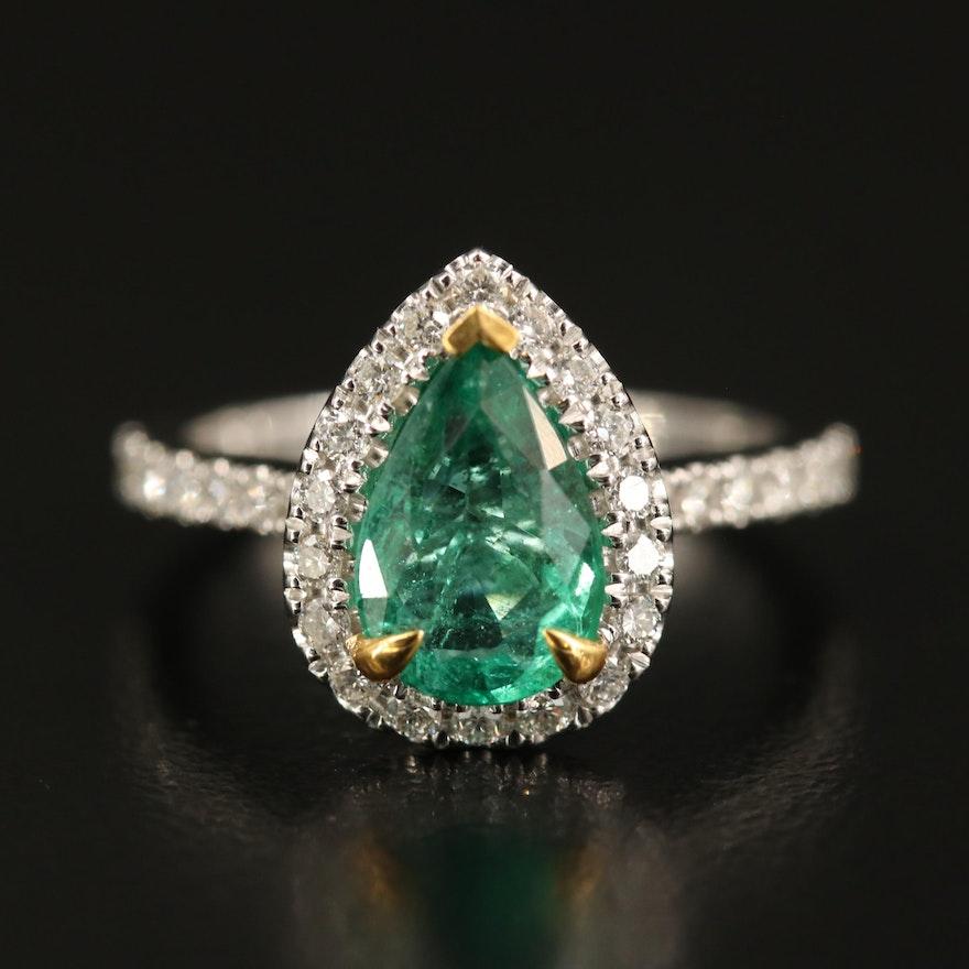14K 1.37 CT Emerald and Diamond Halo Ring