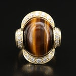Vintage 18K Tiger's Eye and Diamond Ribbon Ring