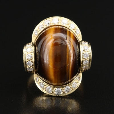 Vintage 18K Tiger's Eye and Diamond Ribbon Ring
