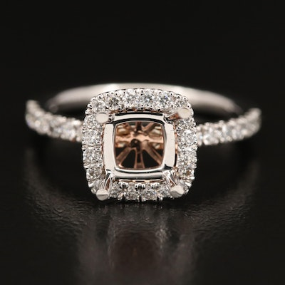 14K Diamond Semi-Mount Ring with Rose Gold Detail