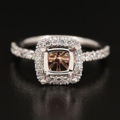 14K Diamond Semi-Mount Ring with Rose Gold Detail