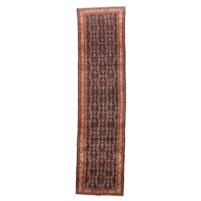 3'5 x 13'6 Hand-Knotted Persian Mahal Long Rug, 1960s