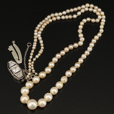 Antique Natural Pearl Graduated Necklace with GIA Report and Diamond Clasp