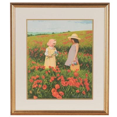 """Bryan Evans Serigraph """"Girls in Poppy Field"""""""