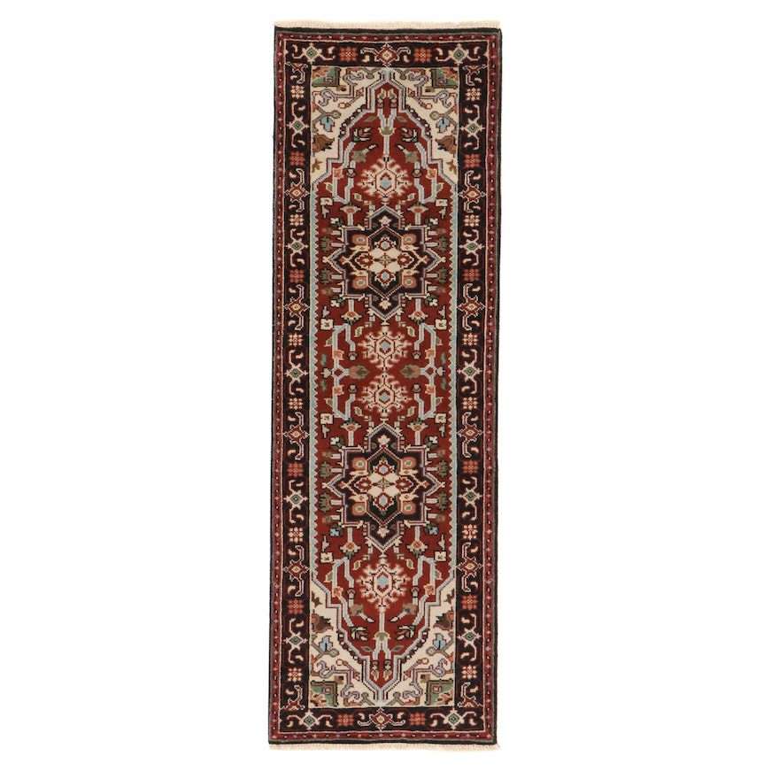 2'7 x 8'2 Hand-Knotted Indo-Persian Heriz Carpet Runner, 2010s
