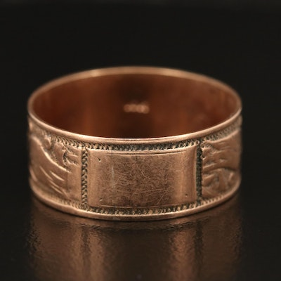 Victorian 10K Foliate Wide Band