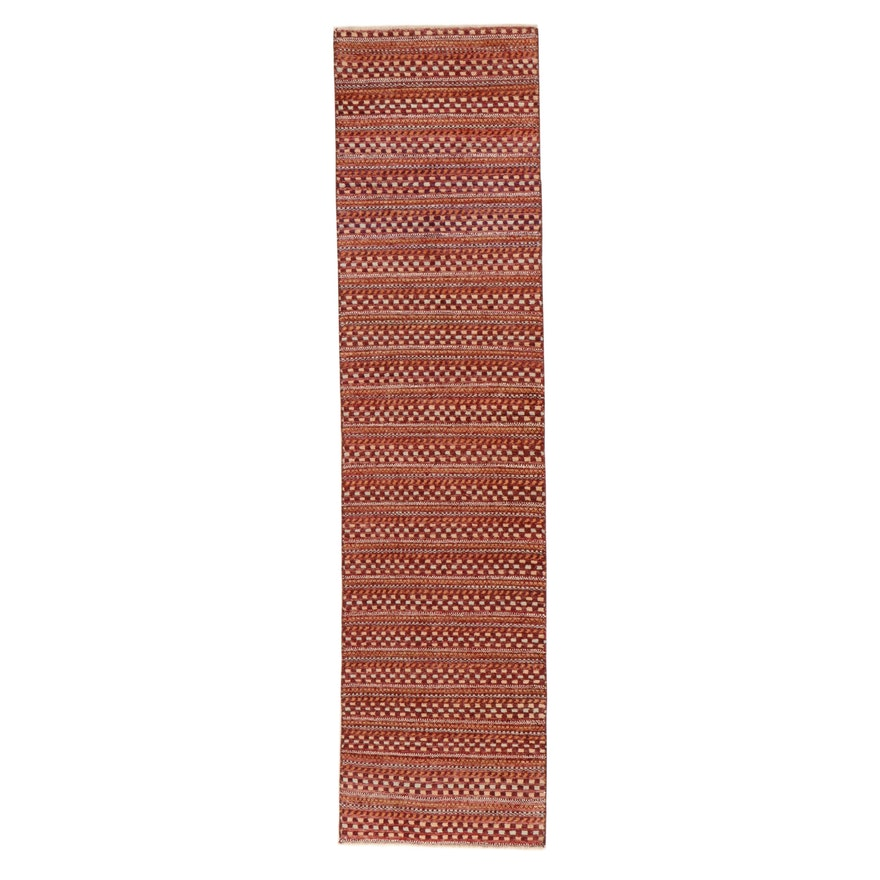 2'7 x 10'2 Hand-Knotted Indo-Persian Gabbeh Carpet Runner, 2000s