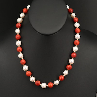14K Baroque Pearl and Round Bead Coral Necklace