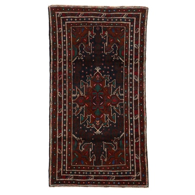 3'7 x 6'7 Hand-Knotted Persian Baluch Rug, 2000s