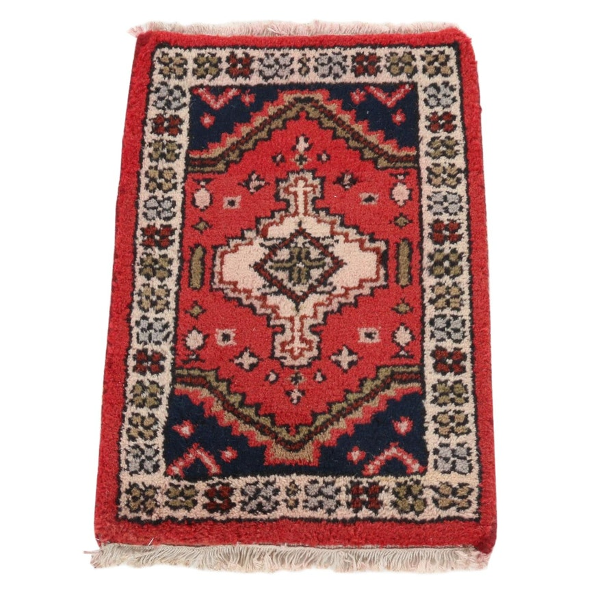 1'3 x 2'1 Hand-Knotted Persian Zanjan Rug, 1970s