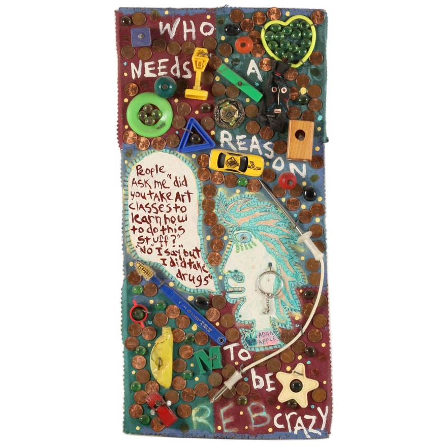 "Mixed Media Folk Art Collage ""Reason to be Crazy,"" 1996"