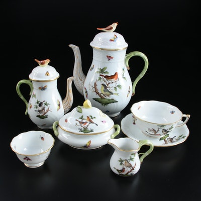 "Herend Hungary ""Rothschild Bird"" Individual Coffee Set and Other Tableware"