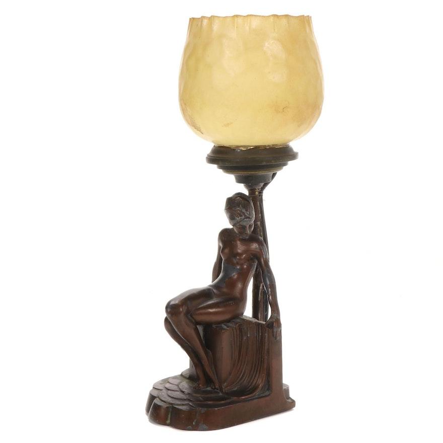 Art Deco Spelter Female Nude Table Lamp, circa 1940s