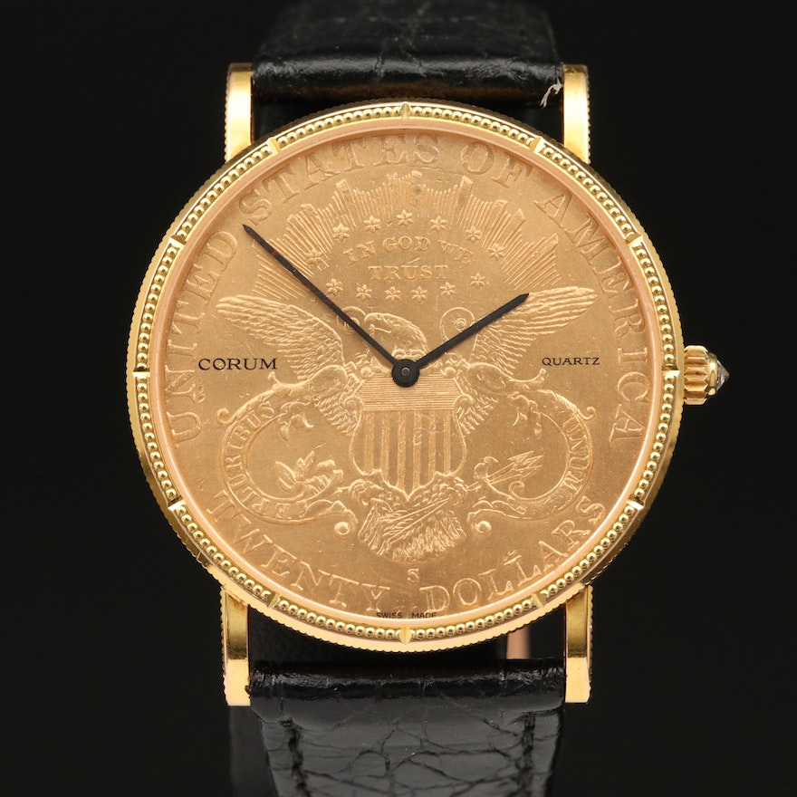 Corum Wristwatch Featuring 1900 $20 Liberty Head Double Eagle Coin Dial