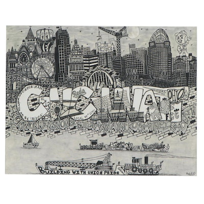 "Paul Dimiceli Giclée ""The Cincy Skyline,"" 21st Century"