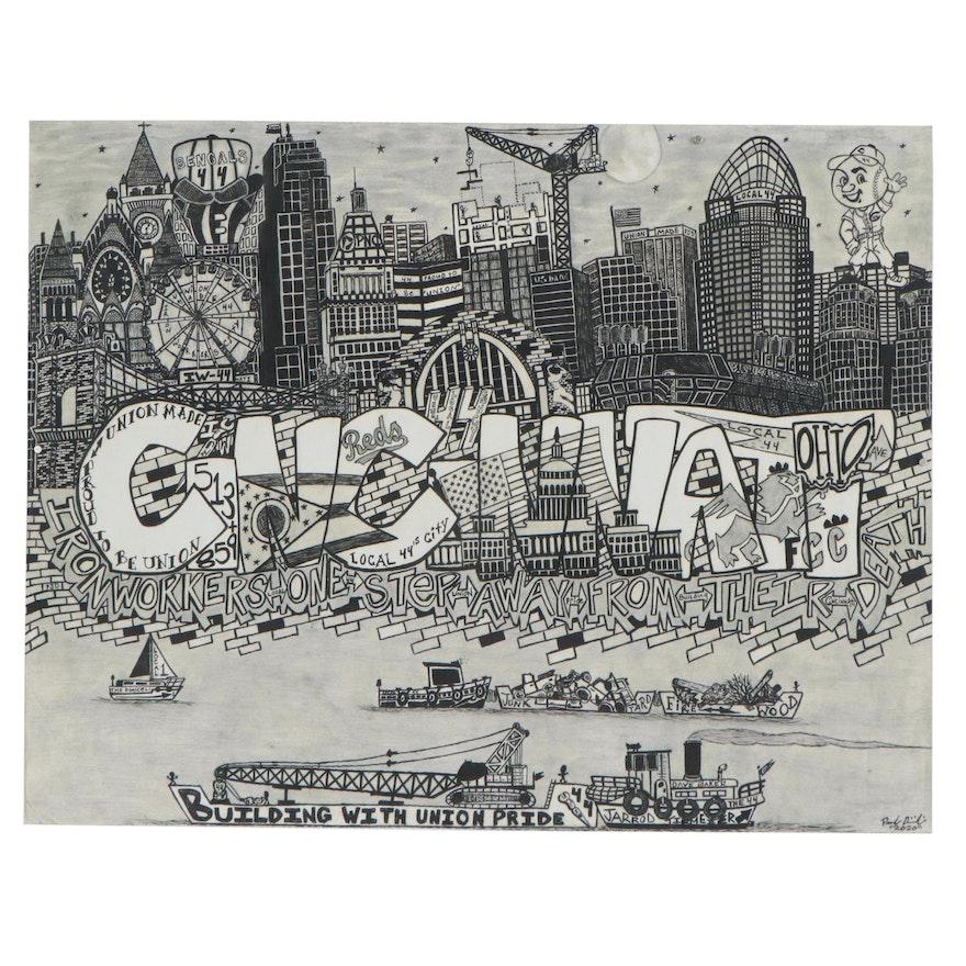"""Paul Dimiceli Giclée """"The Cincy Skyline,"""" 21st Century"""