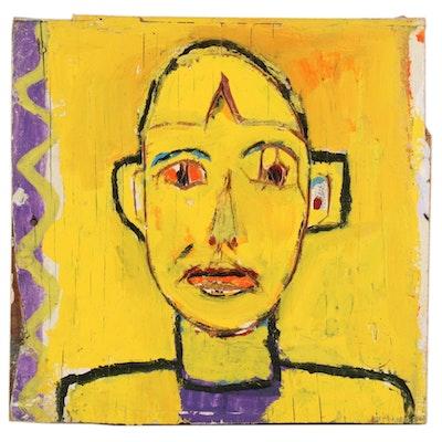 "Rick Borg Acrylic Painting ""Small Blonde Woman,"" 2000"