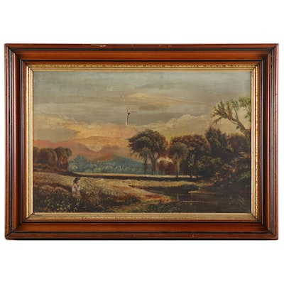 American School Landscape Oil Painting with Figure
