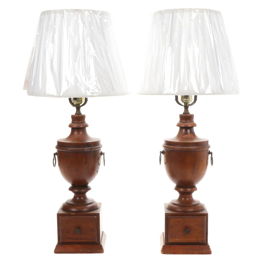 Pair of Oak Urn Form Table Lamps with Drawer and Pleated Shade