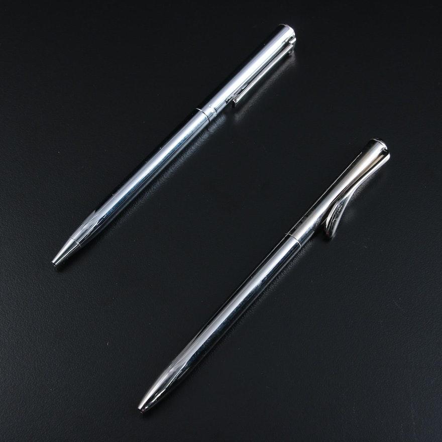 """Tiffany & Co. Sterling Silver Elsa Peretti and """"T-Clip"""" Pens"""