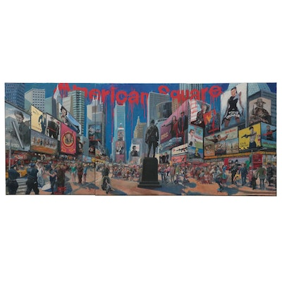 """Kaz Ooka Large-Scale Triptych Oil Painting """"American Square,"""" 2013"""