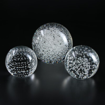 Controlled Bubble Blown Art Glass Paperweights