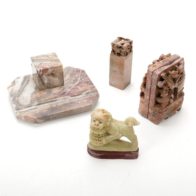 Carved Granite Inkwell, Chinese Seal, Soapstone Bookends and Guardian Lion