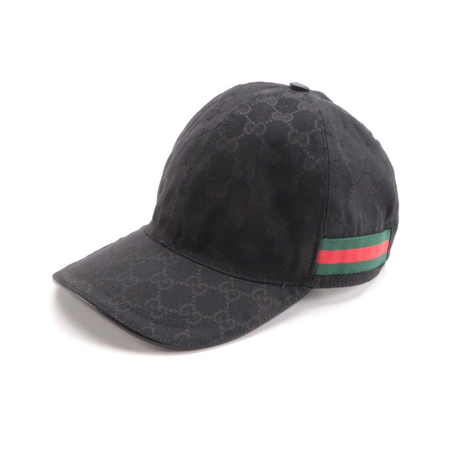 Gucci Baseball Hat in Black GG Canvas with Web Bands and Leather Trim